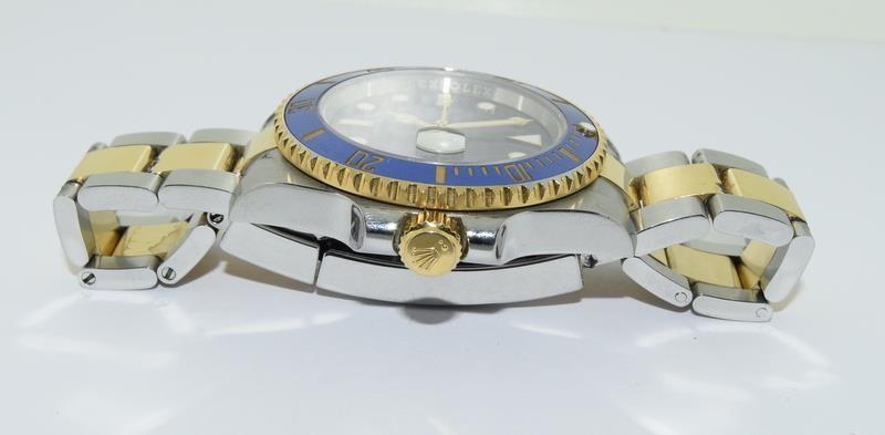 Rolex Submariner Blue Bi Metal 18ct Gold on Stainless Steel ceramic bezel gents wristwatch. No - Image 3 of 9