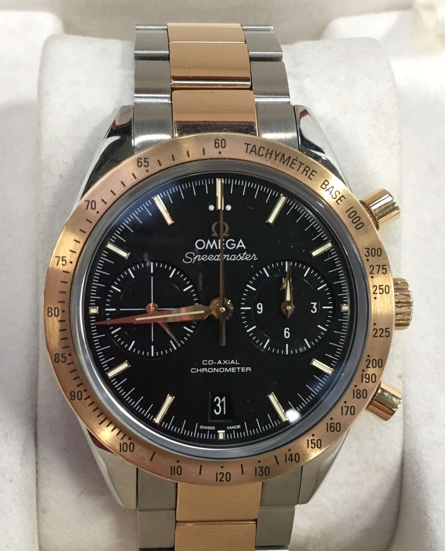 Omega Rose Gold and Stainless Steel Speedmaster Wristwatch, co-axial movement. - Image 2 of 11