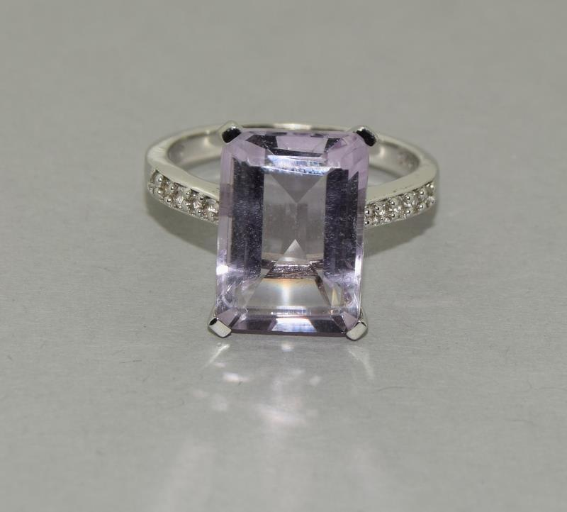 Large Emerald Cut Amethyst 925 Silver Ring. Size Q.