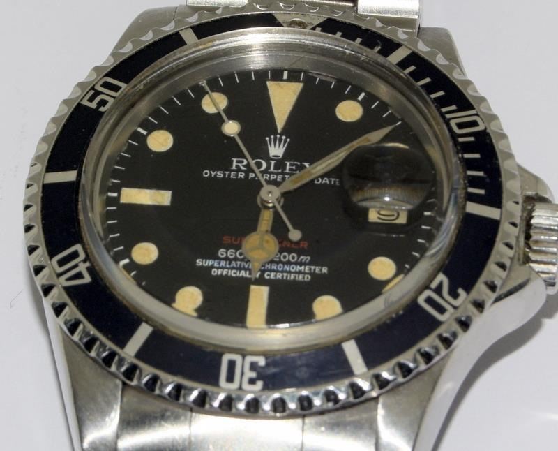 Rolex 1680 'Single Red' Submariner gents wristwatch . Movement 1570 number 306#### 1970s dial has - Image 9 of 11