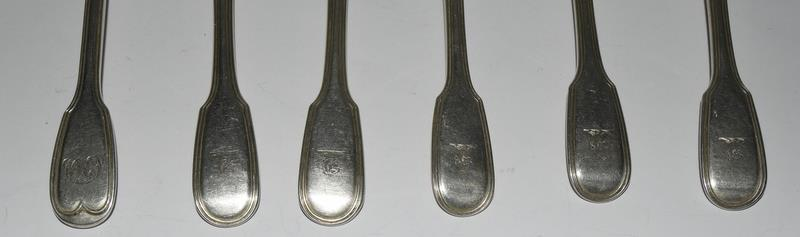 Six Silver hallmarked dessert spoons. 315 grams. - Image 3 of 5