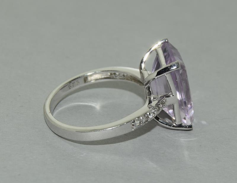 Large Emerald Cut Amethyst 925 Silver Ring. Size Q. - Image 3 of 8
