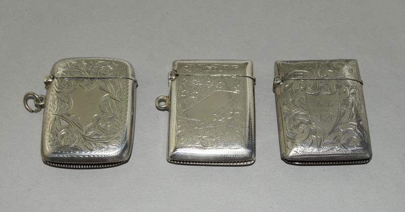 3 Silver Hallmarked Vesta Cases