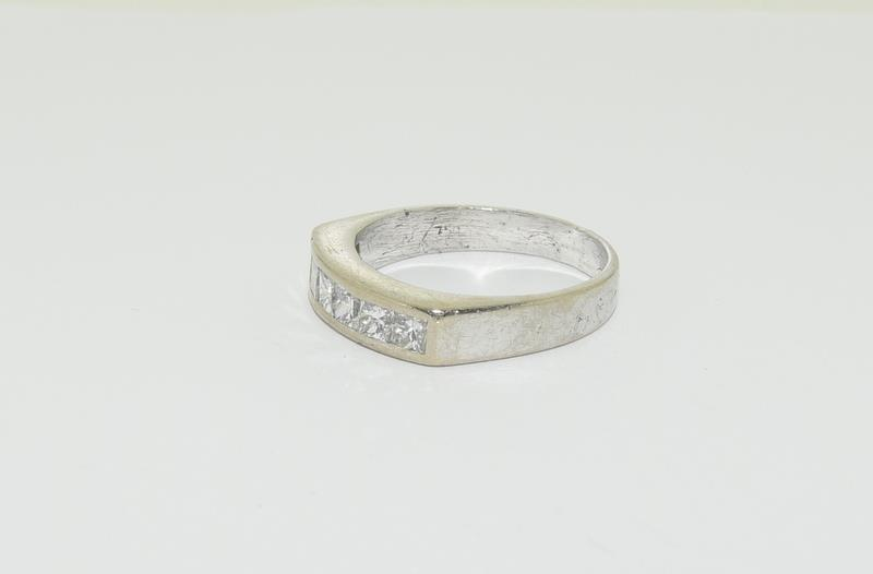 An 18ct white gold Princess cut half eternity band, Size Q, 6.7grams - Image 4 of 6