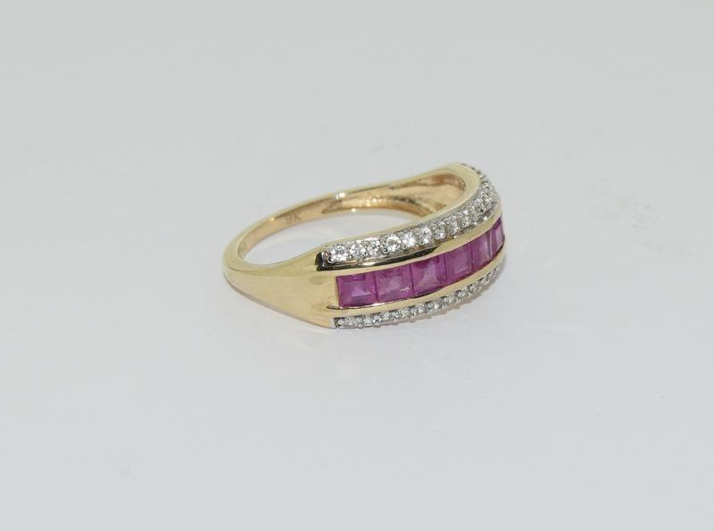 A 9ct gold Burmese ruby Cambodian ring with certificate, size P - Image 6 of 7