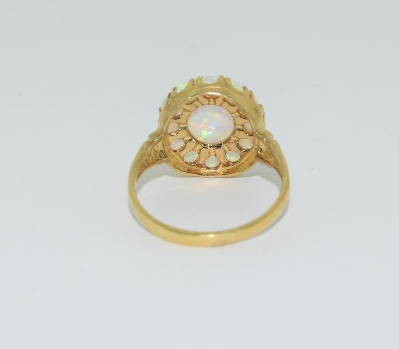 9ct Gold On Silver Opaline Cluster ring. - Image 3 of 6