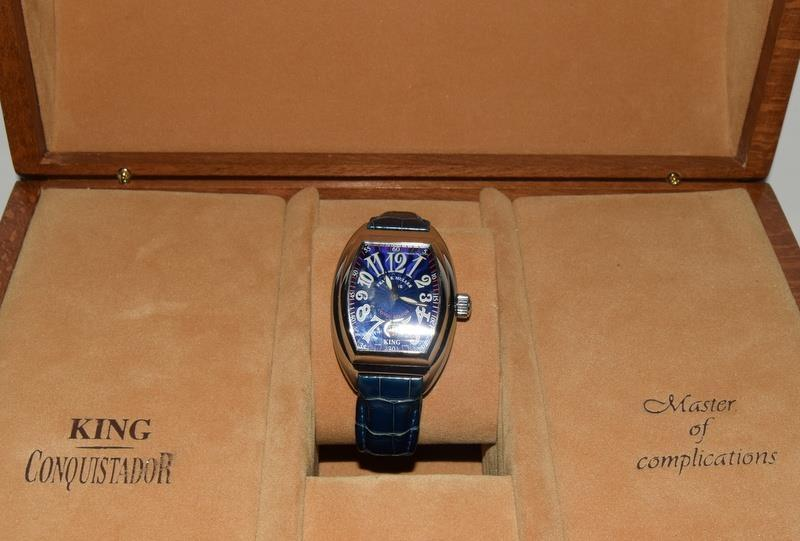 Franck Muller Stainless Steel King Conquistador wristwatch on leather strap, boxed and papers Ref. - Image 7 of 7