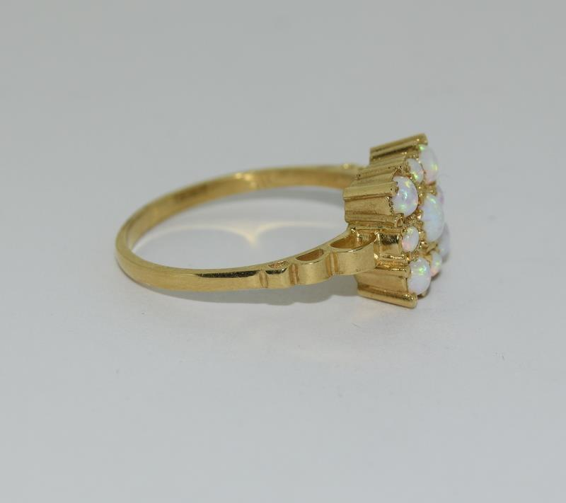 9ct Gold On Silver square Opaline ring. - Image 5 of 6