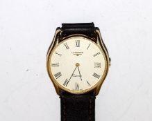 Longines Quartz 9ct Gold wrist watch.