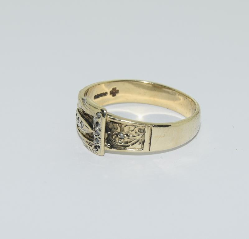 9ct Gold Gents Buckle Ring Fitted with Diamonds. Size T - Image 4 of 6