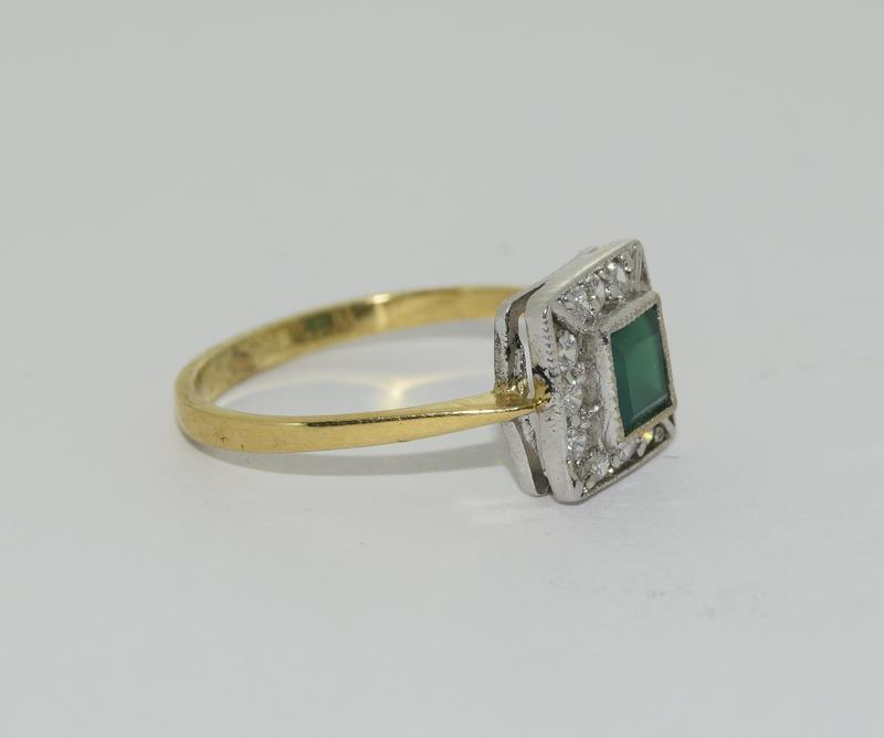 9ct Gold On Silver green Agate ring. - Image 5 of 6