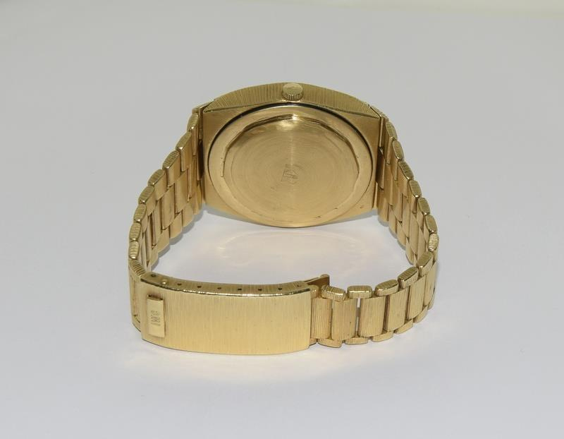 Gents 18ct gold IWC automatic wristwatch bark effect bracelet with gold dial,working order ,total - Image 5 of 8