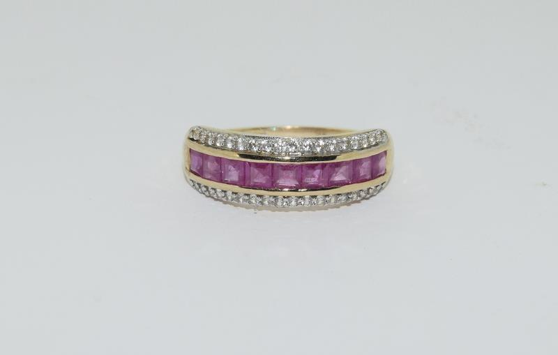 A 9ct gold Burmese ruby Cambodian ring with certificate, size P - Image 2 of 7