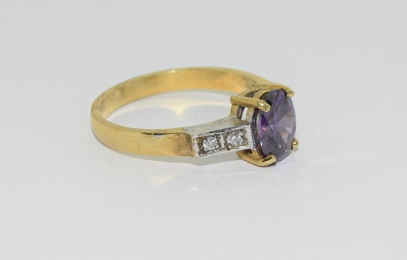 9ct Gold on Silver Amethyst CZ ring. - Image 4 of 5