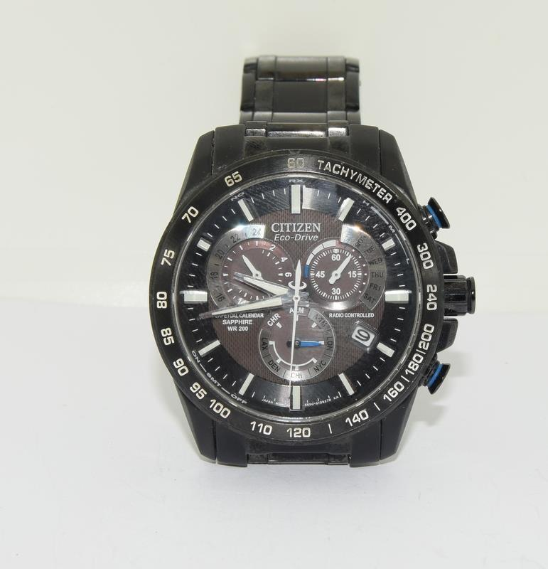 Citizen Eco-Drive Perpetual Calendar Sapphire wr 200 mans watch in black. - Image 15 of 16