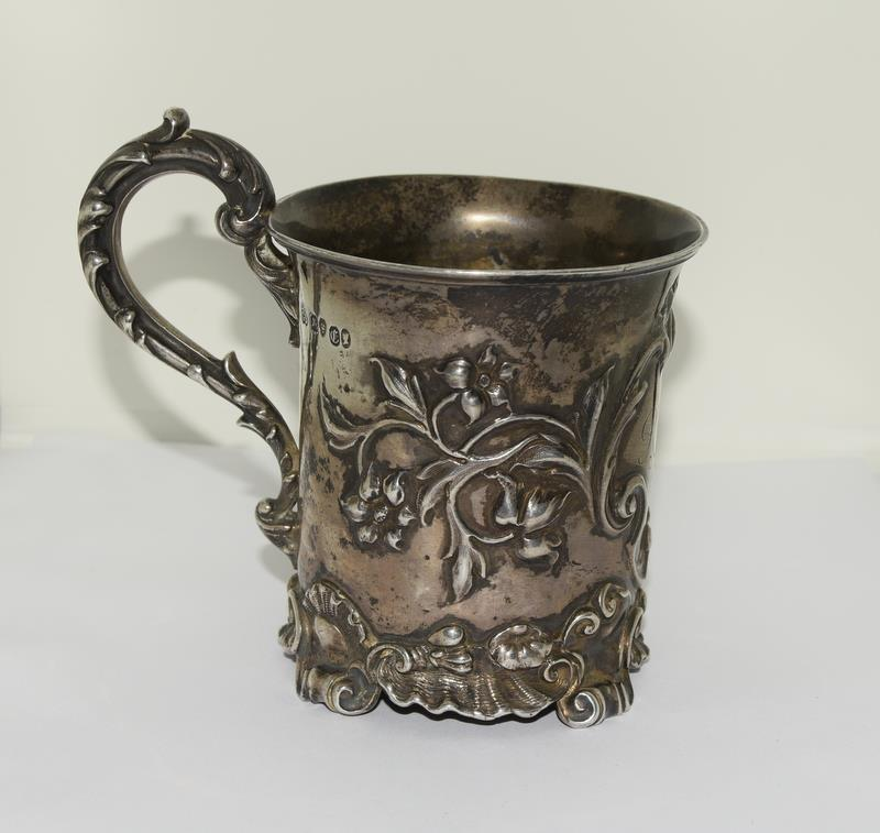 Embossed early Victorian childs christening mug London 1838 maker Charles Riley and George Storer