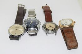 Early Manual Wind Gents Wristwatches, all Ticking. Waltham, Ingersol, Sekonda & Ingersol.