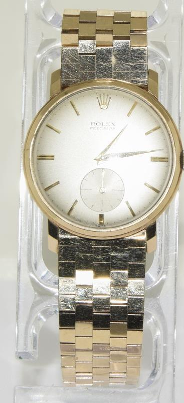 9ct Gold Rolex Precision wristwatch on original Rolex Gold bracelet. - Image 8 of 8