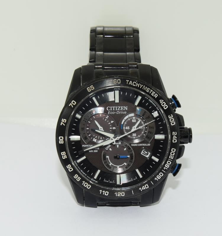 Citizen Eco-Drive Perpetual Calendar Sapphire wr 200 mans watch in black. - Image 3 of 16