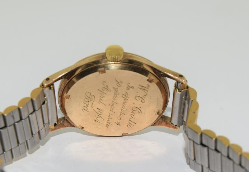 Garrard 9ct Gold 1960s presented by the Ford Motor Company gents manual wind wrist watch. - Image 6 of 8
