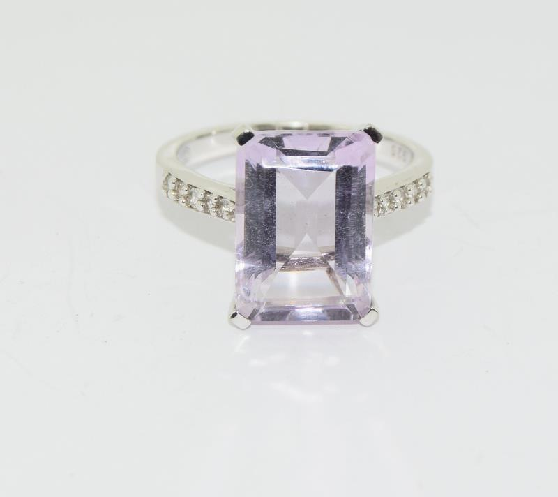 Large Emerald Cut Amethyst 925 Silver Ring. Size Q. - Image 7 of 8