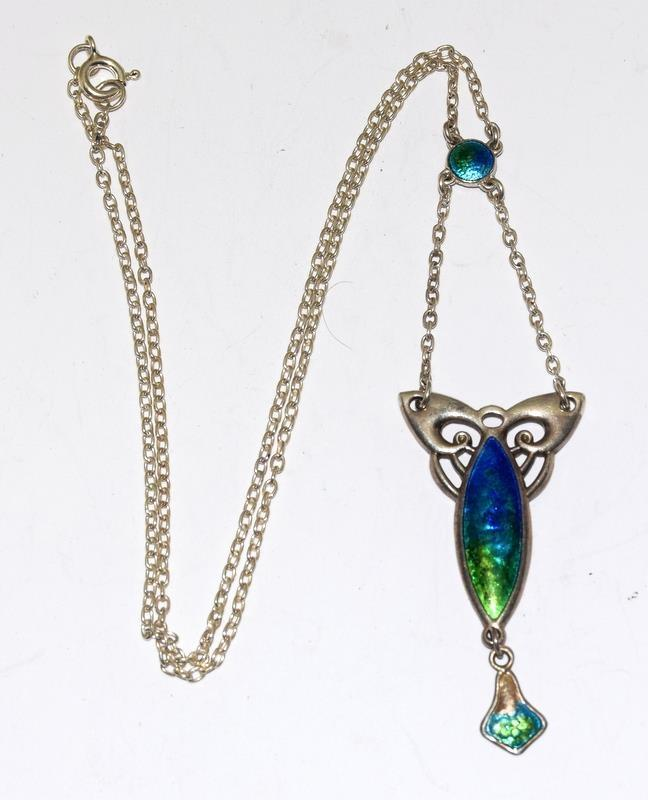 Silver Enamel Art Deco Charles Horner Necklace, Fully Marked.