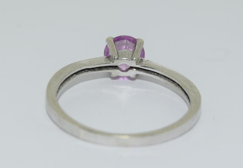 9ct White Gold Solitaire Ring. Size Q - Image 3 of 4