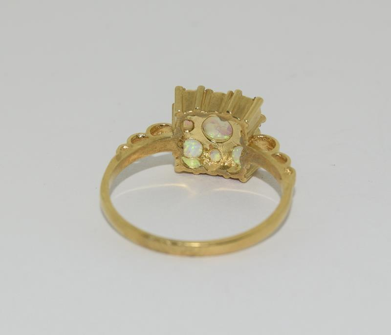 9ct Gold On Silver square Opaline ring. - Image 3 of 6