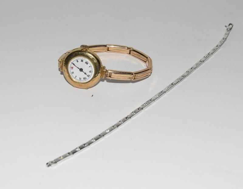15ct Gold ladies watch and strap together with 9ct White Gold bracelet.