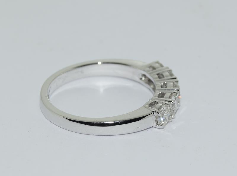 An 18ct white gold five stone diamond ring of 1.2cts. Size M - Image 2 of 6