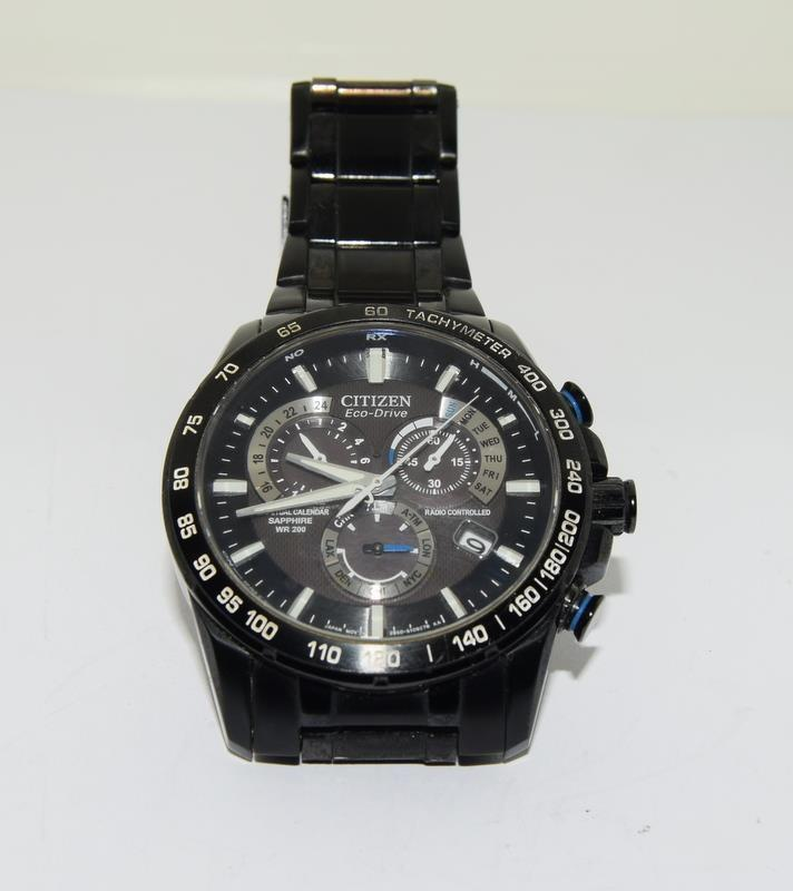 Citizen Eco-Drive Perpetual Calendar Sapphire wr 200 mans watch in black. - Image 13 of 16
