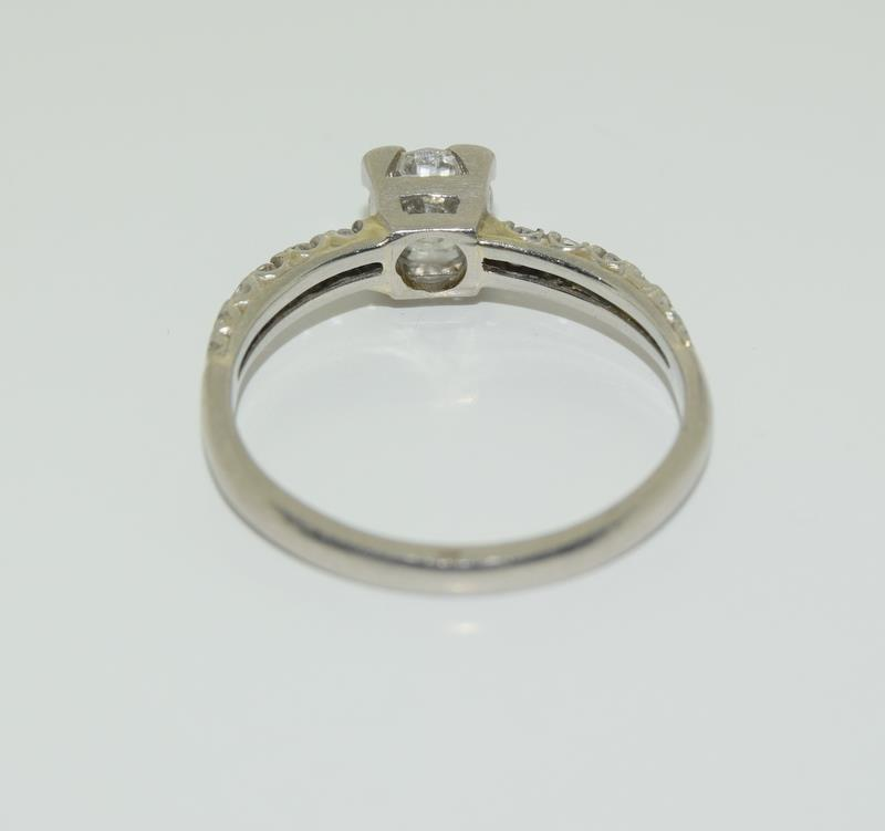 Ladies Platinum and Diamond Solitaire ring - 0.65. Size M. - Image 3 of 6