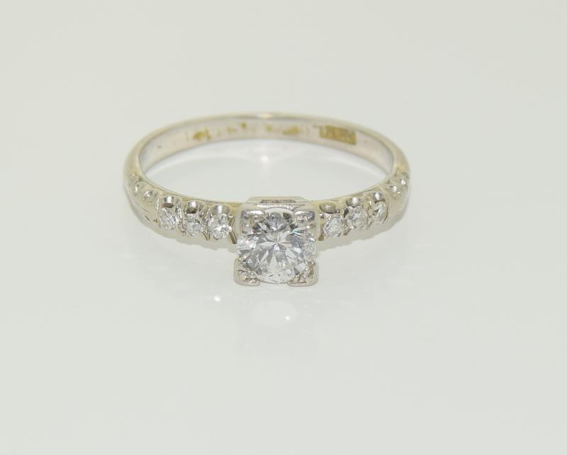 Ladies Platinum and Diamond Solitaire ring - 0.65. Size M. - Image 6 of 6