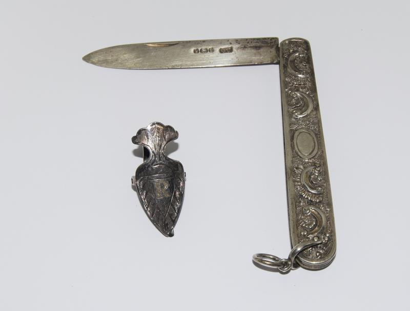 Silver Hallmarked Embossed Handled Fruit Knife together with a Silver Napkin Pin