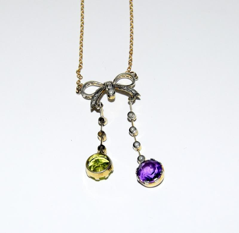 9ct Gold and Silver Antique Suffragette Diamond and Amethyst pendant.