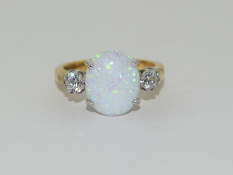 9ct Gold On Silver Opaline Trilogy ring. - Image 6 of 6
