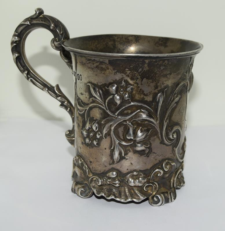 Embossed early Victorian childs christening mug London 1838 maker Charles Riley and George Storer - Image 7 of 9