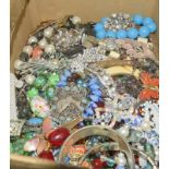 Large box of mixed Vintage costume jewellery.