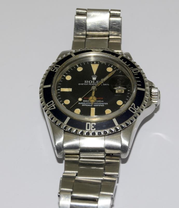 Rolex 1680 'Single Red' Submariner gents wristwatch . Movement 1570 number 306#### 1970s dial has - Image 3 of 11