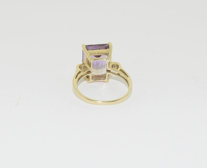 A yellow gold and diamond cocktail style ring with a four claw setting.Size N - Image 3 of 6
