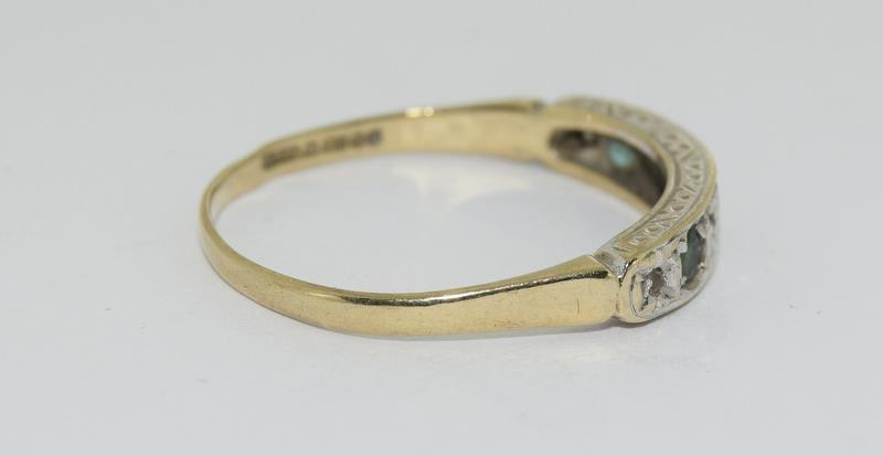 9ct Gold Antique Set Diamond 7 Sapphire Ring. Size O - Image 2 of 5