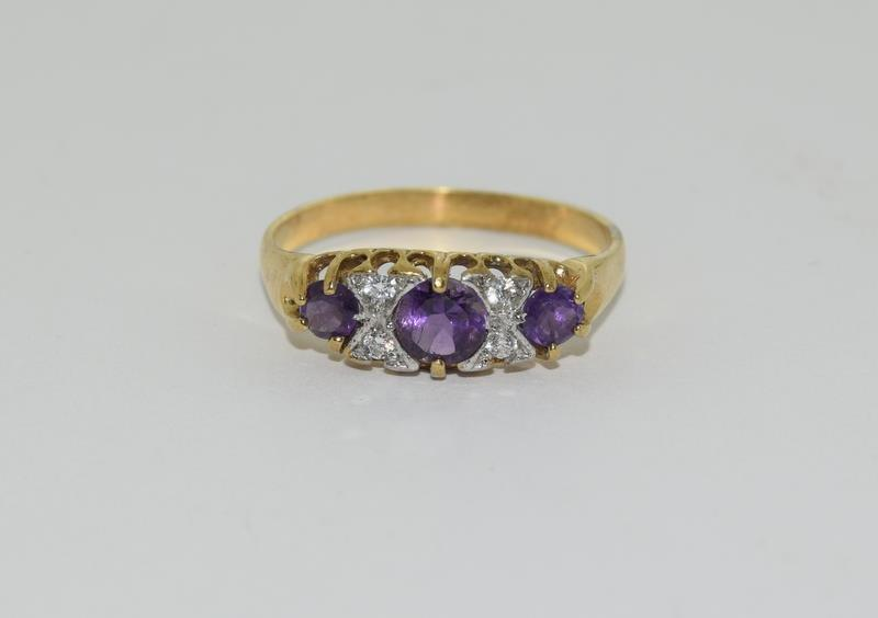 9ct Gold On Silver Amethyst ring. - Image 6 of 6