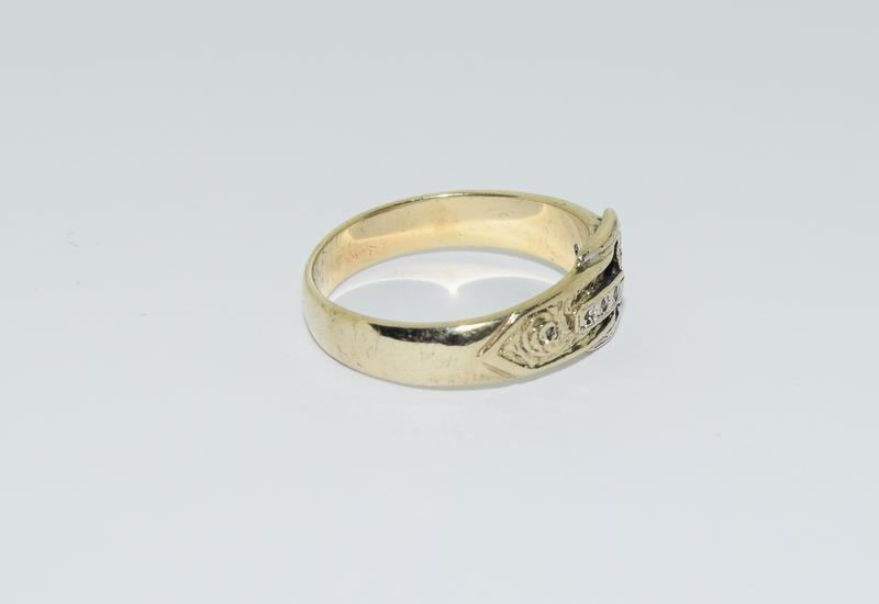 9ct Gold Gents Buckle Ring Fitted with Diamonds. Size T - Image 2 of 6