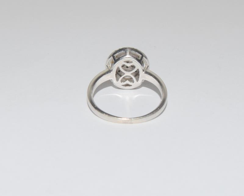 18ct White Gold ladies Diamond Halo set ring. Size O. - Image 3 of 5