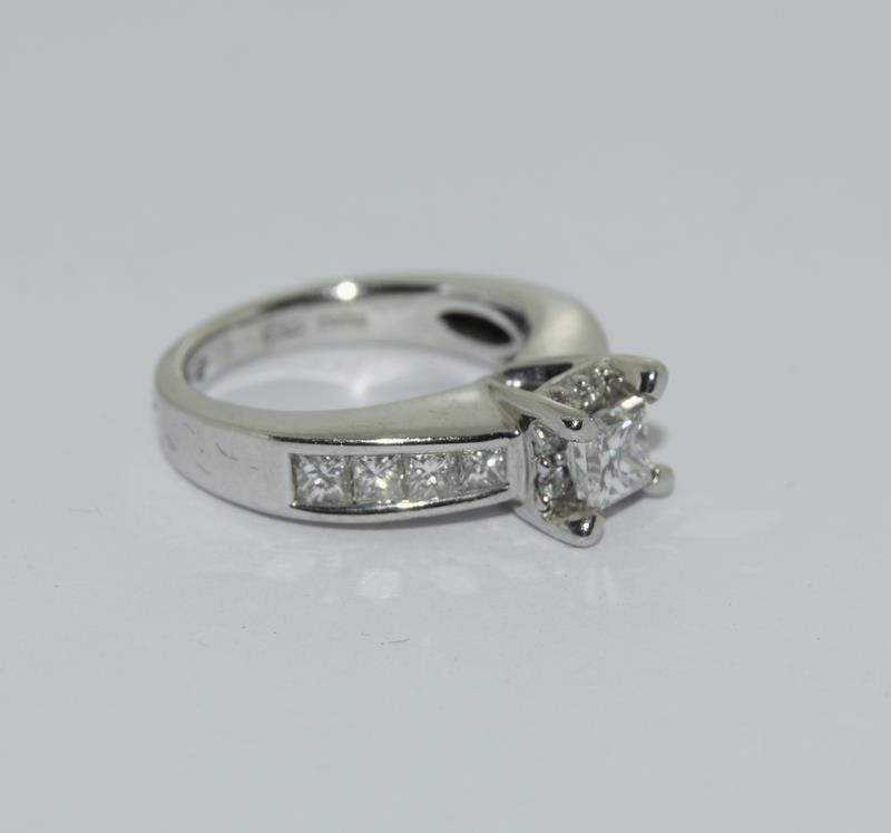 A 14ct white gold and diamond ring with central princess cut diamond. Size K - Image 6 of 7