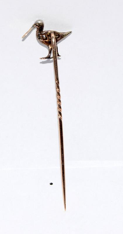 Antique gold and old cut diamond stick pin in the form of a Curlew bird - Image 5 of 7