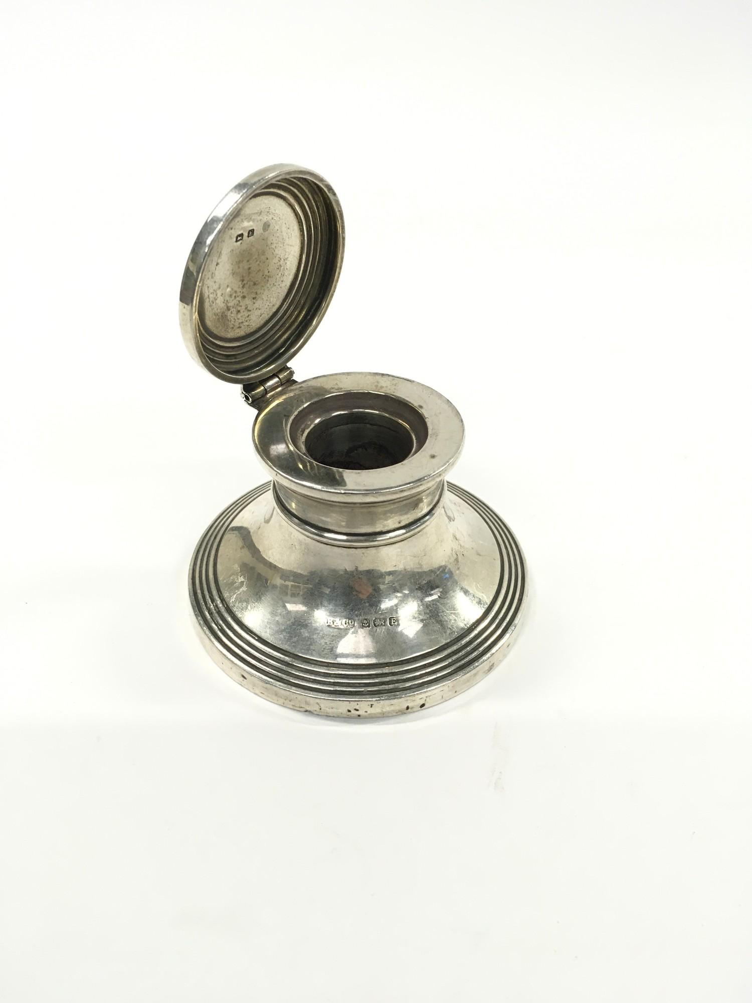 Silver Hallmarked Deco Inkwell. - Image 2 of 2