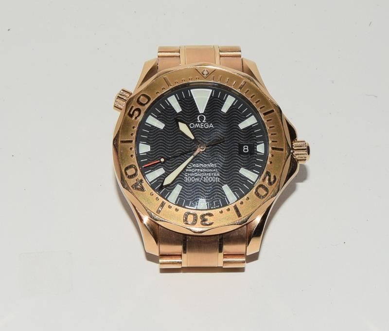 Rose Gold Omega Seamaster Wristwatch 300, Reference No. 2136500, boxed and papers. - Image 9 of 12