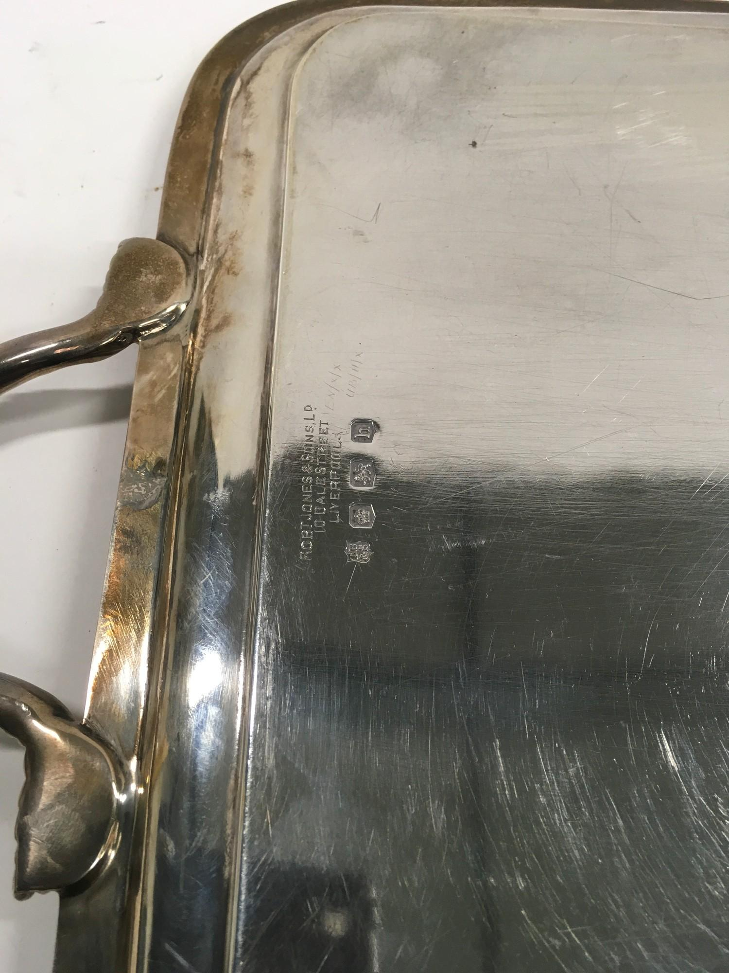 Large two handed Silver tray of approximately 2 kilos in weight. - Image 5 of 5