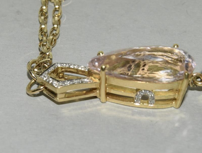 18ct Gold Kuuzite Diamond necklace. - Image 5 of 6